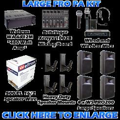 Large Pro Sized PA Sound System Kit