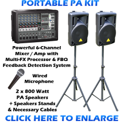 sound system kit. portable pa sound system kit